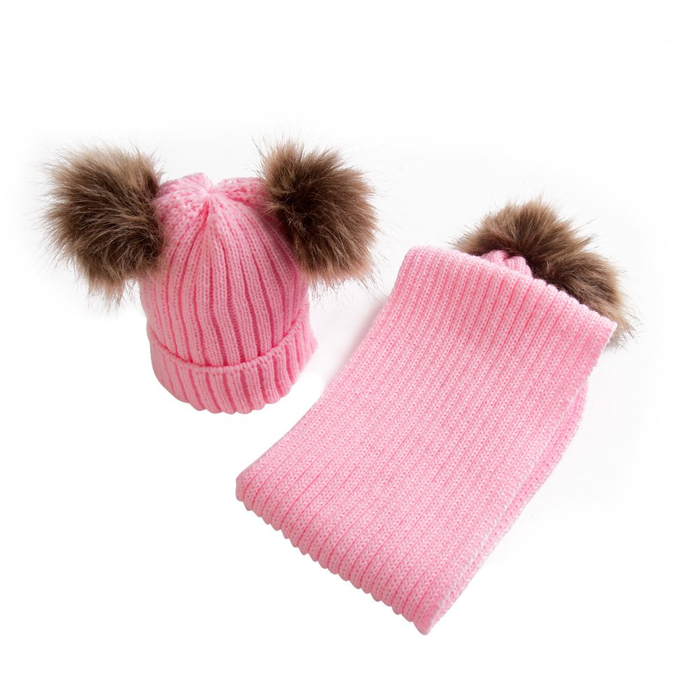 Baby Boys Girls Winter Hat and Scarf Set Ribbed Knit Double Faux Fur Pompoms Beanie Cap Neck Warmers