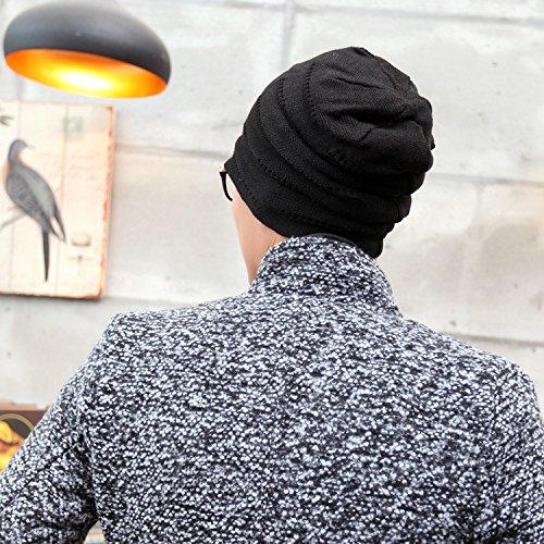 Lana Beanie Tapa Diario Invierno Color cráneo 4 Sombrero Caliente Hombre Maozi para BLACK Tejer Slouchy Navy qAv7X