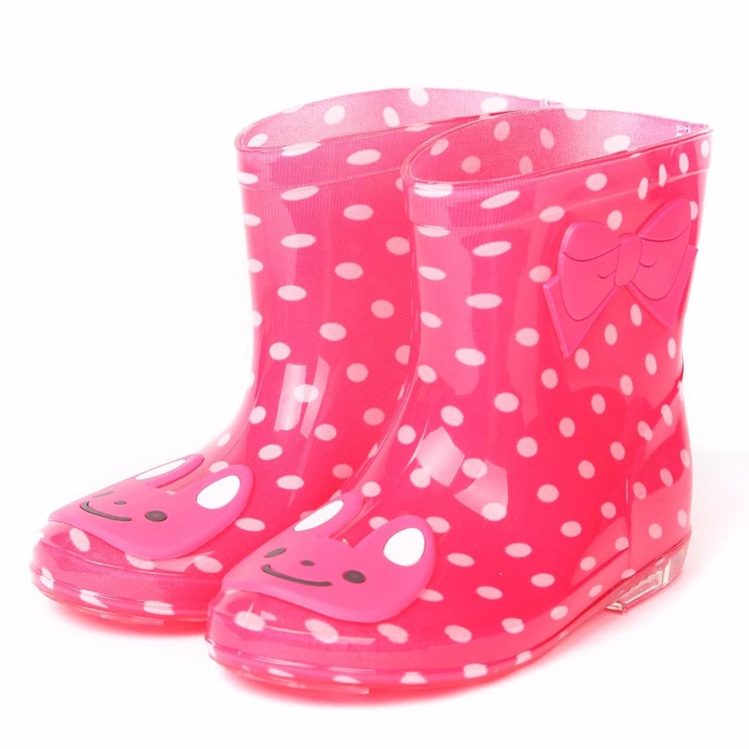 AMA(TM) Toddler Baby Cartoon Waterproof Rain Boots Rubber Anti-slip Martin Shoes