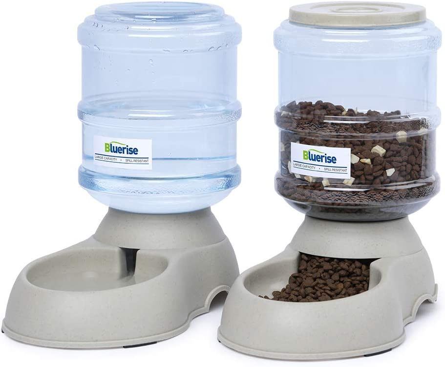 BLUERISE Automatic Pet Feeder Small Medium Pets Automatic Food Feeder and Waterer Set 1 Gal Travel Supply Feeder and Water Dispenser for Dogs Cats Pets Animals Gravity Dog Water Fountain
