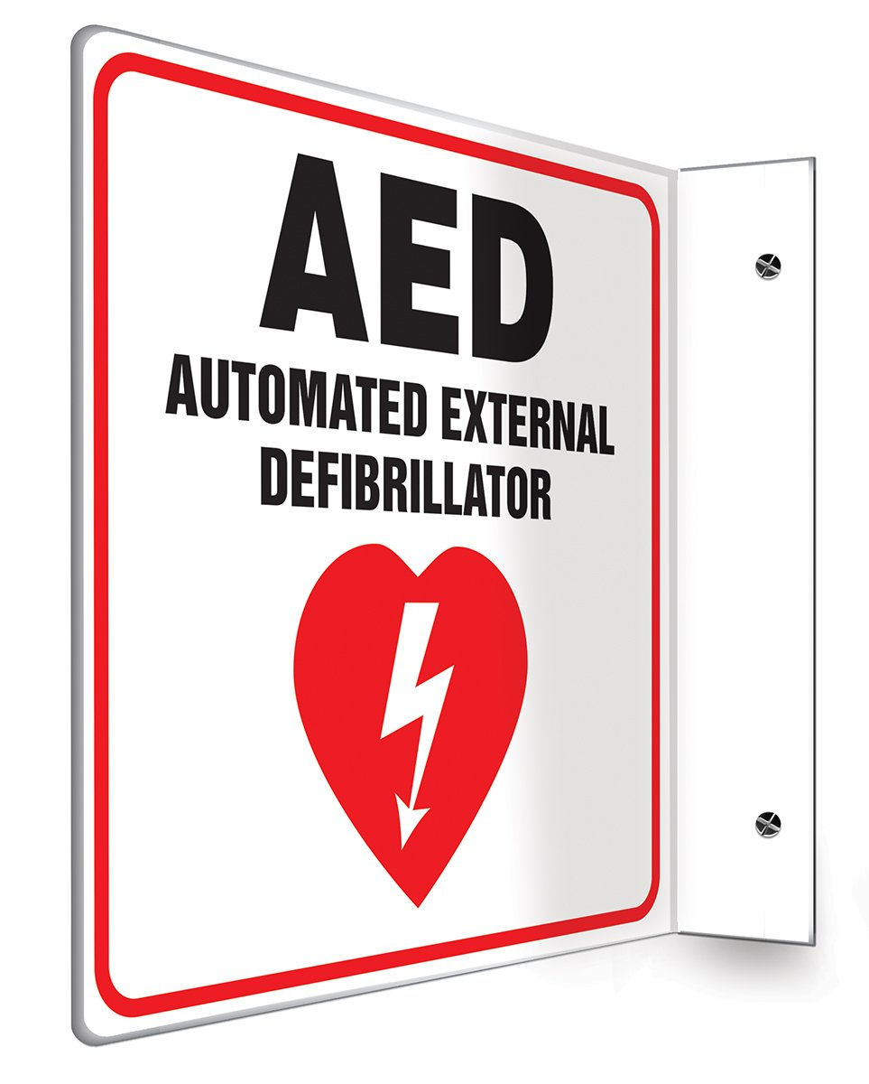 Accuform PSP721 Projection Sign 90D, Legend''AED AUTOMATED EXTERNAL DEFIBRILLATOR'', 8'' x 8'' Panel, 0.10'' Thick High-Impact Plastic, Red/Black on White