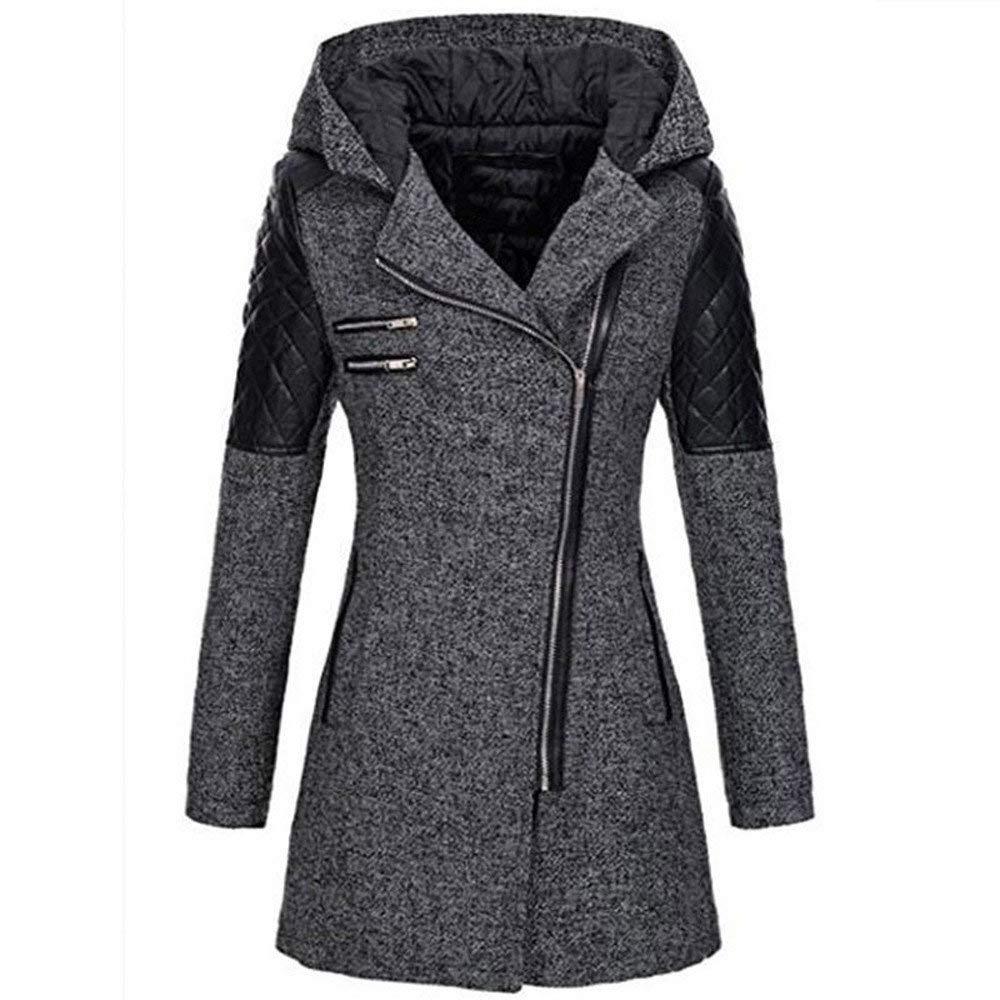 Rmeioel Plus Size Women Warm Slim Oversize Solid Jacket Thick Parka Overcoat Winter Outwear Hooded Zipper Coat Gray by Rmeioel
