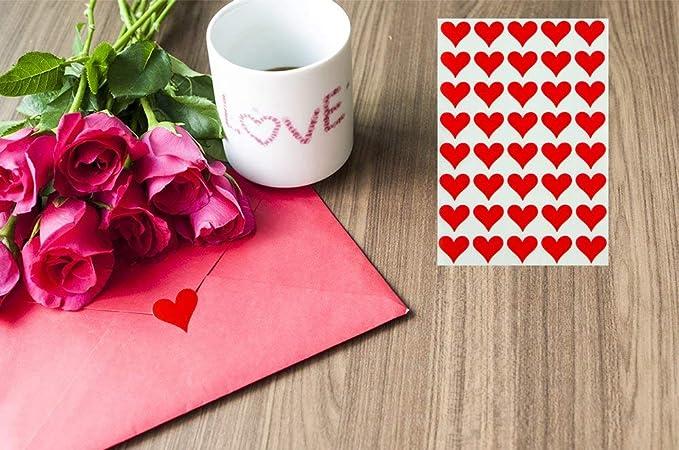 Royal Green Red Heart etichette decorative per cancelleria confezione da 200 documenti e arti adesive permanenti Etichette adesive per buste