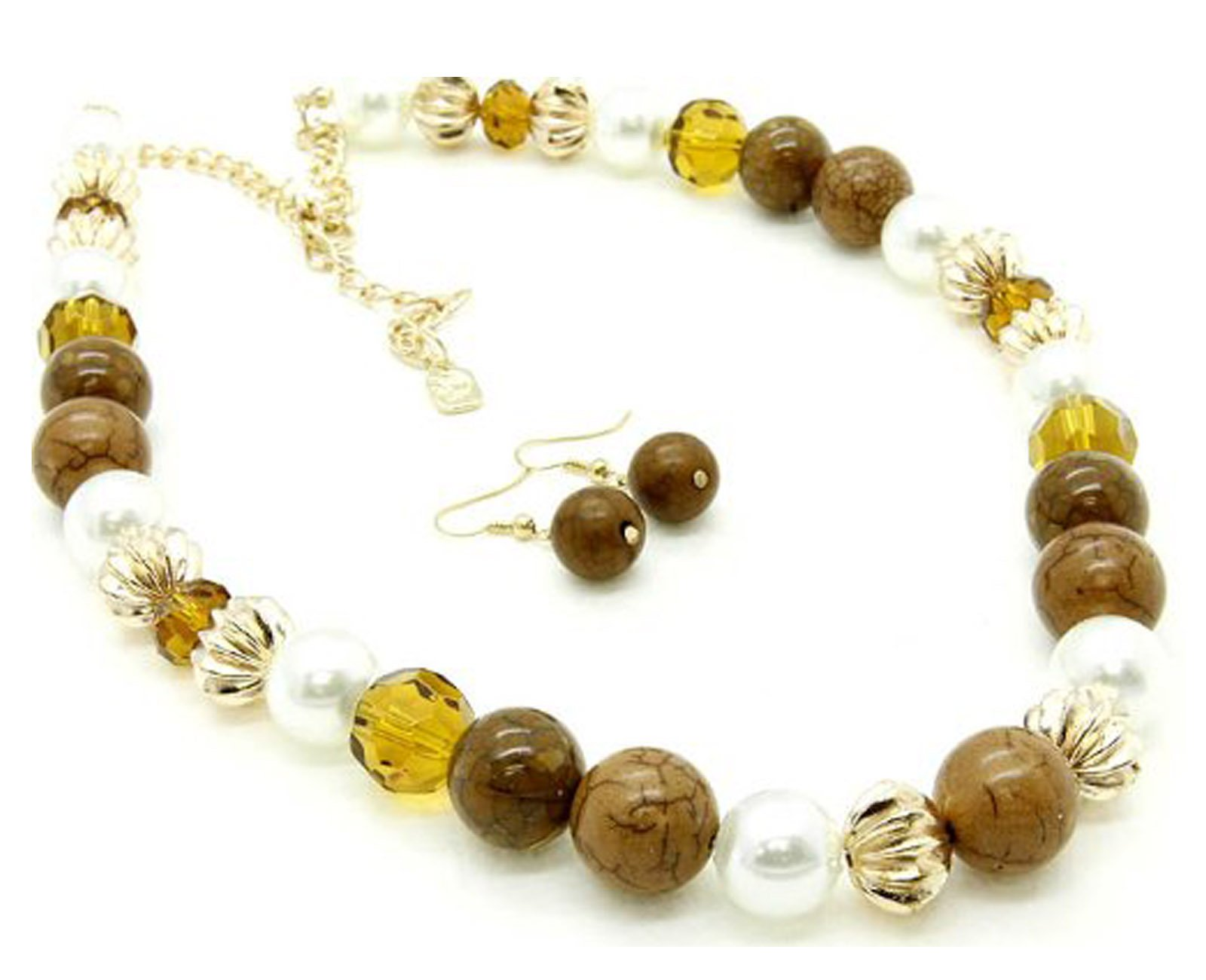 Fashion Jewelry ~ Mix Brown Beads W Imitation Pearls Necklace and Earrings Set (FNE 1927GDBRO)