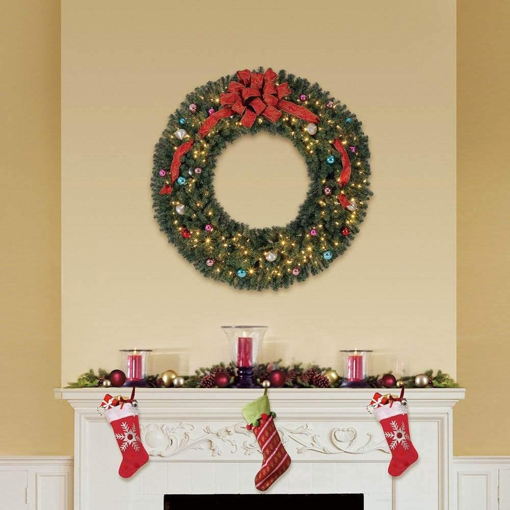 Home Heritage 60 Inch Pre-Lit Holiday Christmas Wreath w// 300 Color LED Lights and 1180 PVC Tips