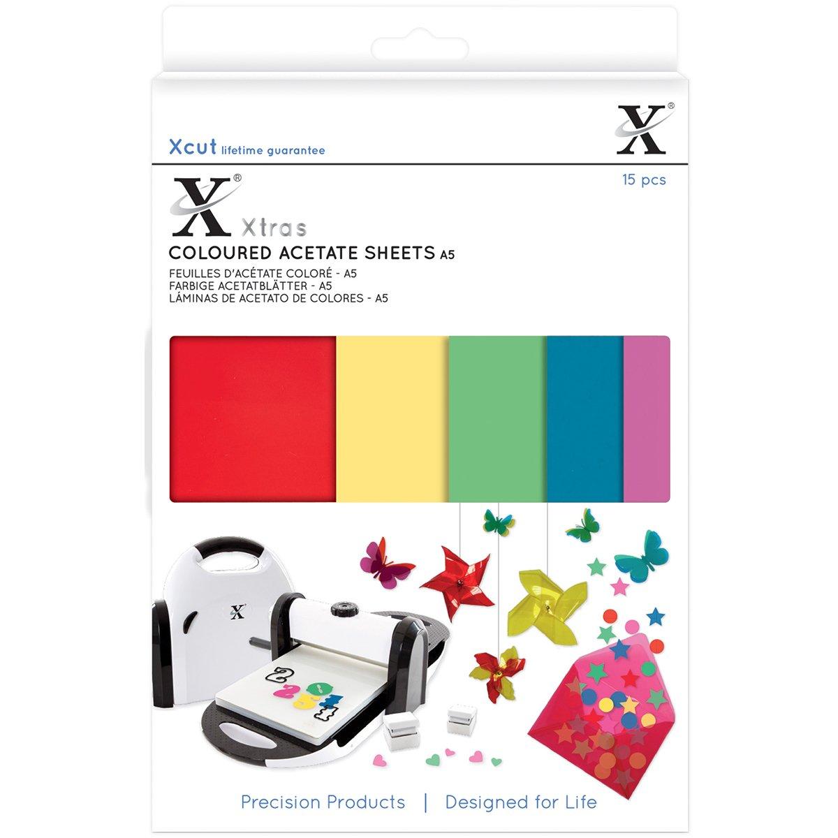 Xcut Xtra A5 Colored Acetate Sheets 15/Pkg-