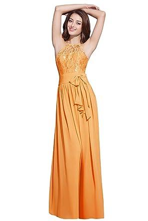 Orient Bride Halter Backless Lace Chiffon Long Prom Evening Dresses Size 16 UK Tangerine