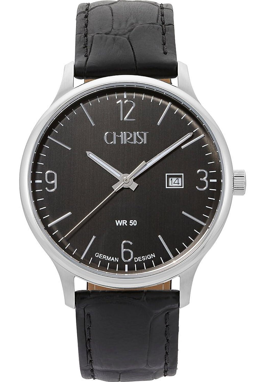 CHRIST times Herren-Armbanduhr Analog Quarz One Size - grau - schwarz