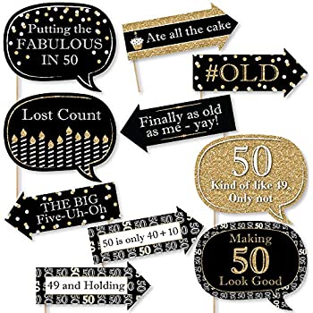 Amazoncom Big Dot Of Happiness Funny Adult 50th Birthday Gold