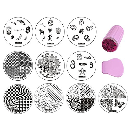Finger Angel 10PCS Nail Templates Blue Protective Film Nail Art Plate Stainless Steel Nail Art Stamping Template With Jelly Clear Pink Stamping Stamper Scraper DIY Nail Tool