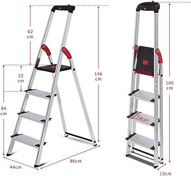 Escaleras Escalera de 4 escalones de aluminio, Escalera de extensión, Taburete, Escalera telescópica, Escalera de tijera for el hogar, Peso ligero, Sostiene hasta 150 kg: Amazon.es: Bricolaje y herramientas