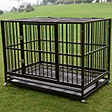 """Sliverylake 3XL 48"""" Dog Cage Crate Kennel - Heavy Duty Double Door Pet Cage w/ Metal Tray Wheels Exercise Playpen"""