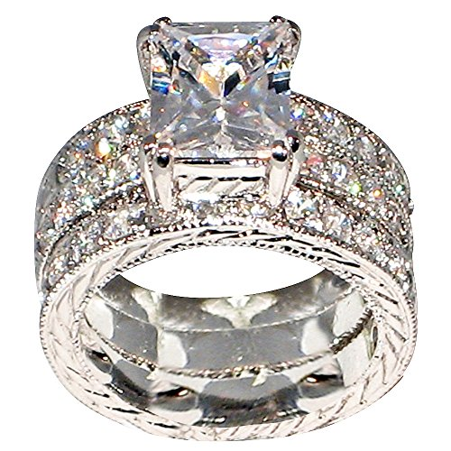 Regal 3.9 Ct Emerald-shape Milgrain Cubic Zirconia Cz Brial Engagement Wedding Ring Set (Center Stone Is 3 Cts) (10) ()