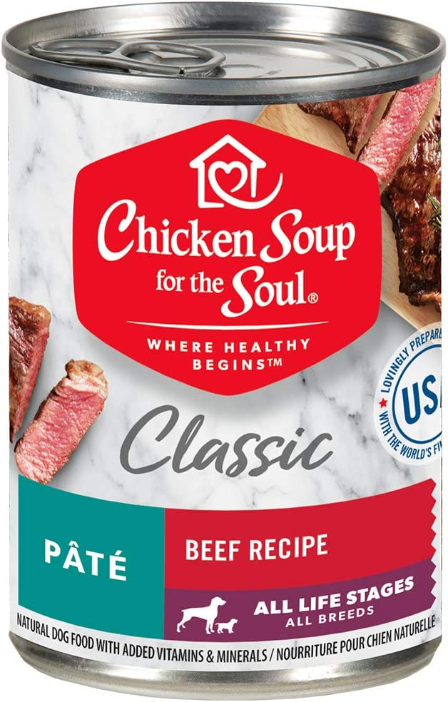 Chicken Soup for the Soul Pet Food - Classic Wet Dog Food, Beef Pate Recipe Soy Free, Corn Free, Wheat Free | Dry Dog Food Made with Real Ingredients No Artificial Flavors or Preservatives