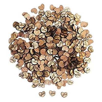 CEWOR 300pcs Rustic Wooden Pattern Love Hearts Shaped Wood Slices Crafts for Wedding Party Ornaments