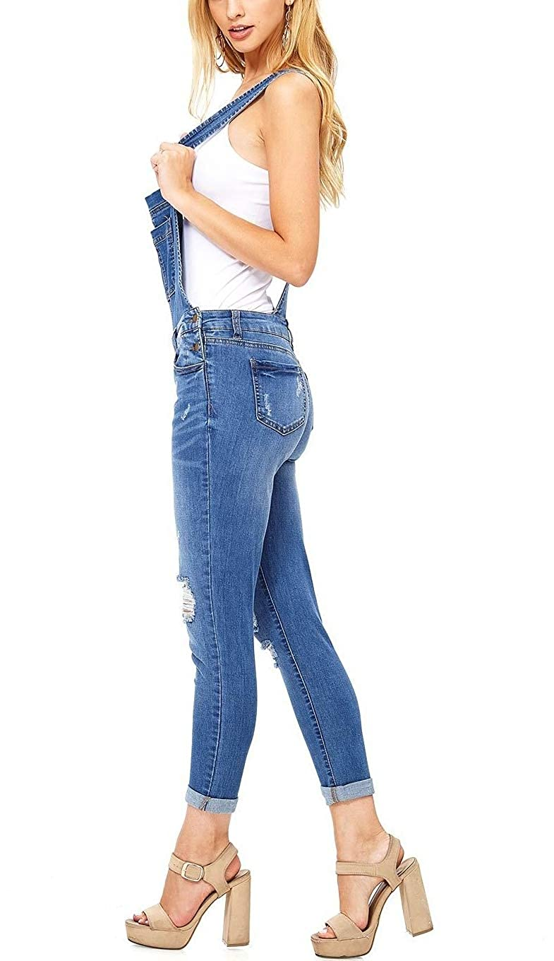 8f8e0ea1d3f5 Amazon.com  Misassy Womens Ripped Denim Bib Overall Jumpsuit Jeans Skinny  Distressed Long Rompers  Clothing