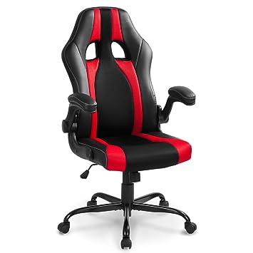 Silla de oficina Life Carver®, estilo gaming, con suave mecanismo basculante y giratorio, para ordenador, videojuegos, oficina, colores rojo y negro