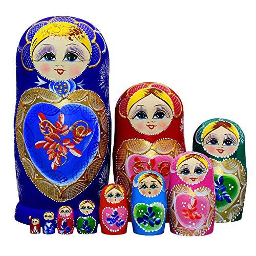Moonmo 10pcs Blue Loving Heart Shaped Handmade Wooden Russian Nesting Dolls Matryoshka Wooden Toys