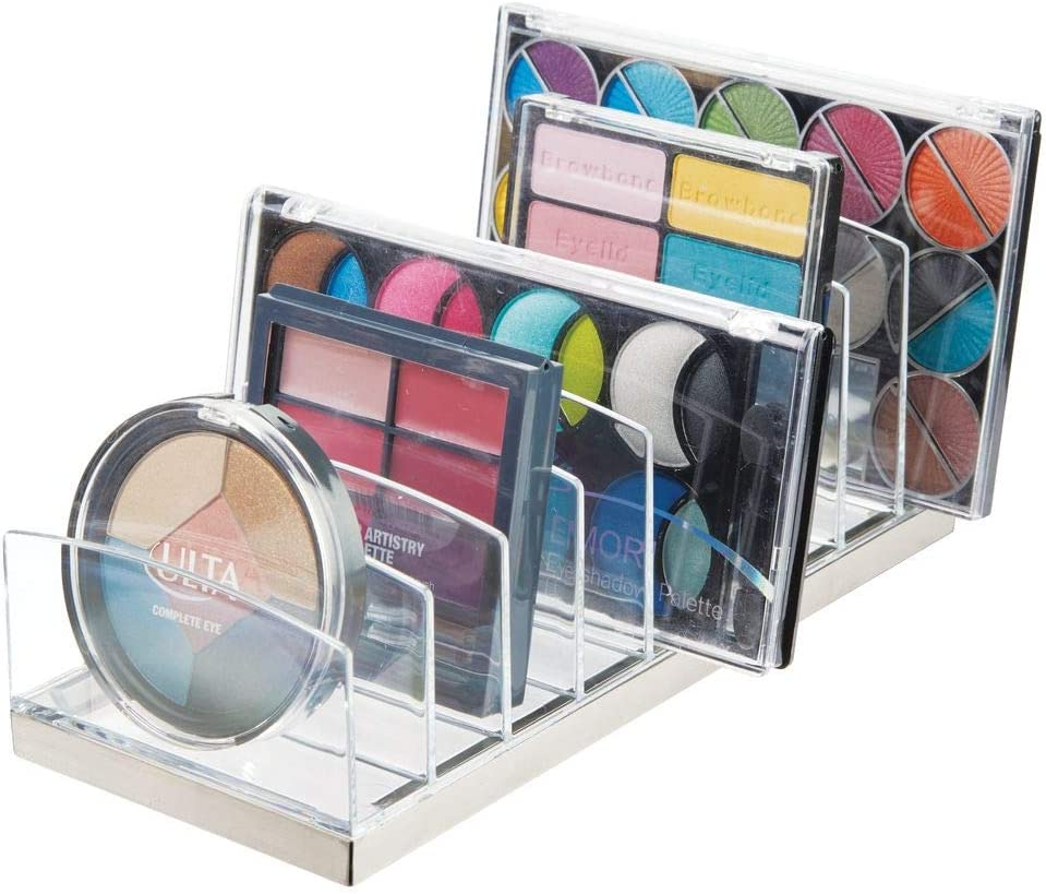 mDesign Plastic Makeup Organizer for Bathroom Countertops, Vanities, Cabinets: Cosmetics Storage Solution for - Eyeshadow Palettes, Contour Kits, Blush, Face Powder - 9 Sections - Clear/Brushed