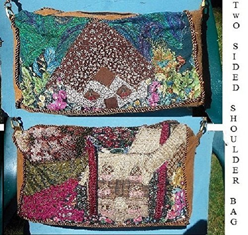 Large 2 Sided Shoulder Bag, 2 OOAK Floral Woodland Homes on Handmade Crazy Quilt Patchwork. Sure to get Compliments! Vintage Style. One of a Kind!