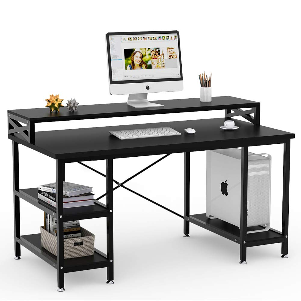 Tribesigns Computer Desk with Storage Shelves, 55'' Large Modern Office Desk Computer Table Studying Writing Desk Workstation with Hutch for Home Office (Black)