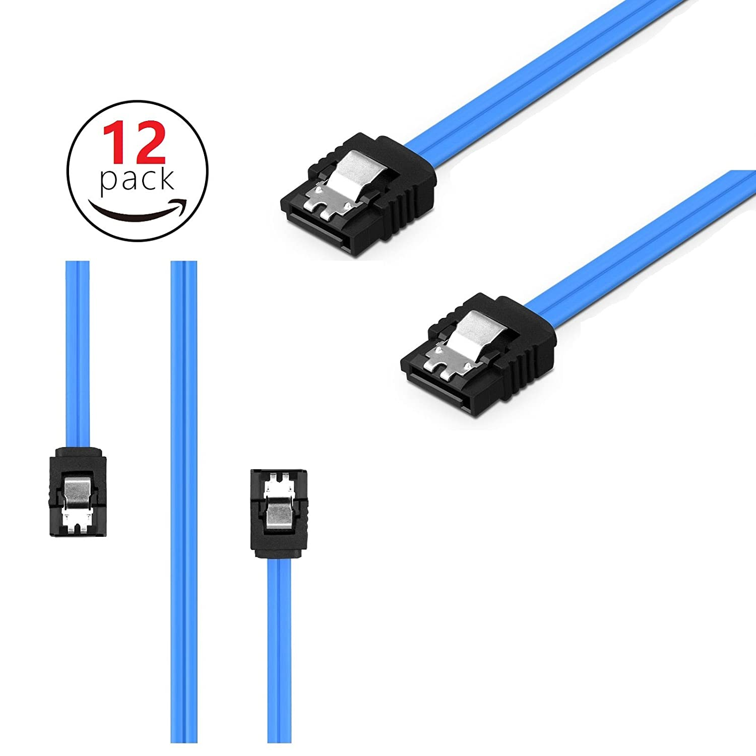 Blue 12 pack Sata Cables Sata Cable SATA III 6.0 Gbps 7pin Female to Female Data Cable with Locking Latch for Hdd 18-inch SATA Cables