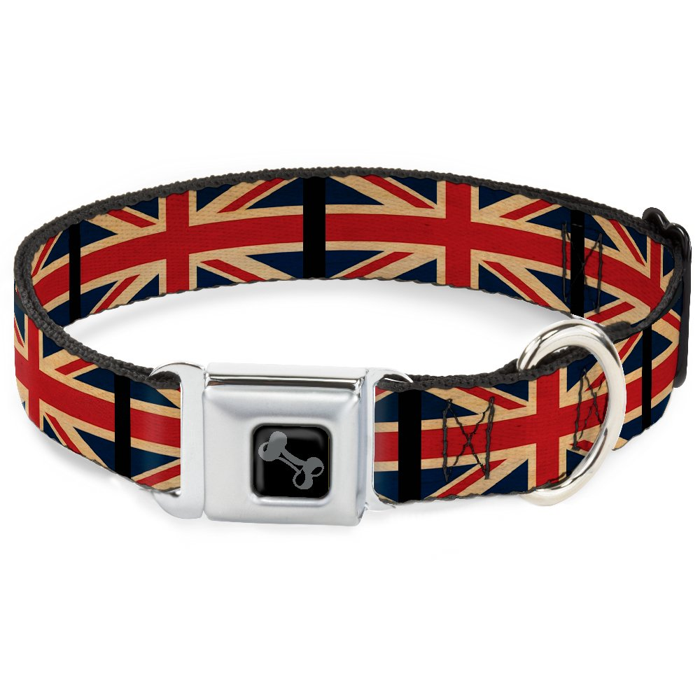 Buckle-Down Seatbelt Buckle Dog Collar United Kingdom Flags Vintage Black 1  Wide Fits 11-17  Neck Medium