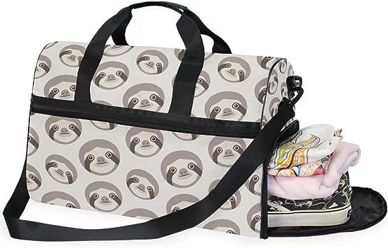 Cute Sloth Round Duffel Sports Bags Travel Gym Fitness Bag