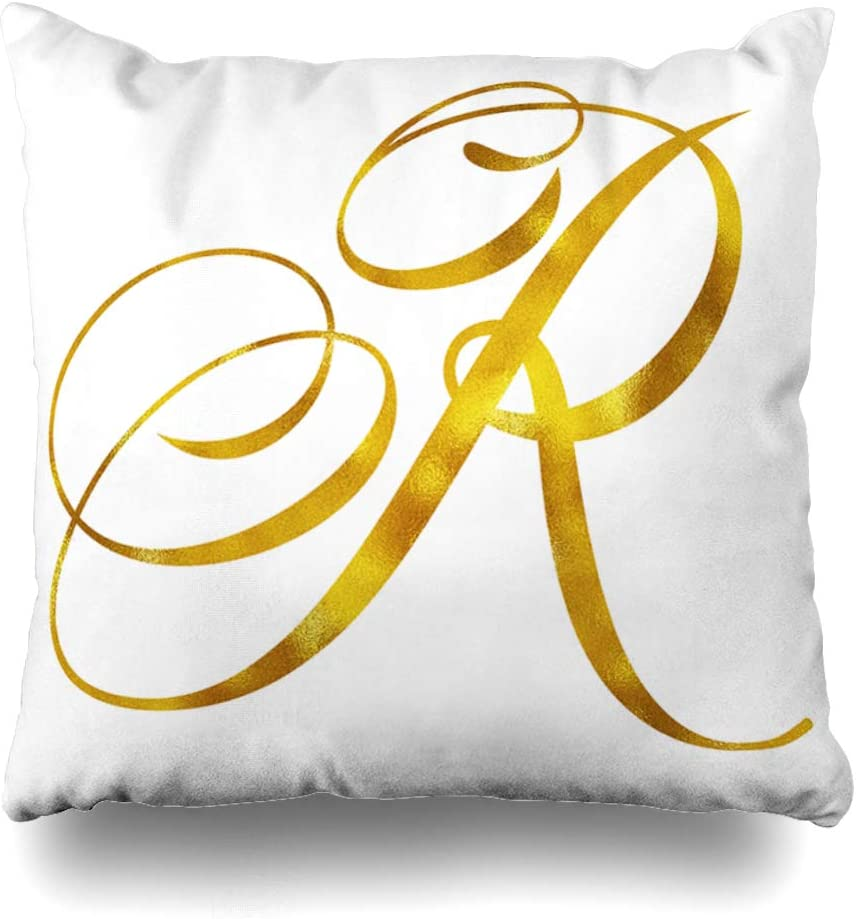 Ahawoso Throw Pillow Cover Square 16x16 Inches Initial Monogram Gold Foil Letter Quote Script White Cushion Case Home Decor Pillowcase