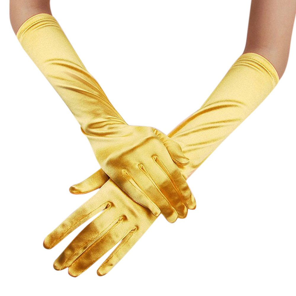 """Crytech Lady Satin Long Gloves 15"""" Opera Wedding Bridal Evening Party Prom Gloves Elbow Length Full Finger Formal Gloves Dancing Mittens for Women Brides"""