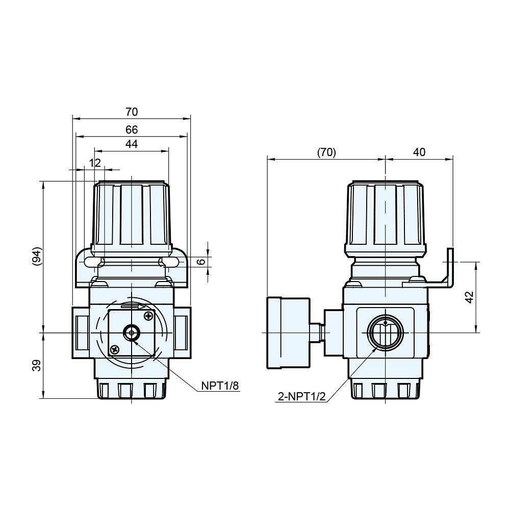 Gauge Bracket M Mindman Compressed Air Regulator 140 CFM Max Flow 1//2 NPT