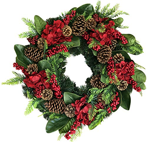 The Wreath Depot Arietta Winter Wreath, 22 Inches, Stunning Designer Quality Transforms Winter Decor, White Gift Box Included