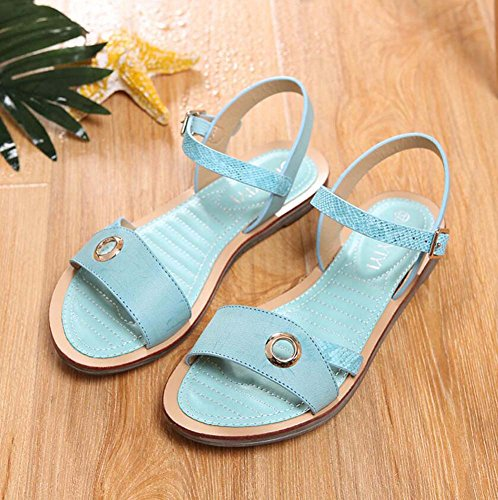 shoes pump shoes beach buckle sandals shoes d'orsay eu toe open rivets ankle court 41 simple belt strap slingback casual women Blue 36 flat size AqAar