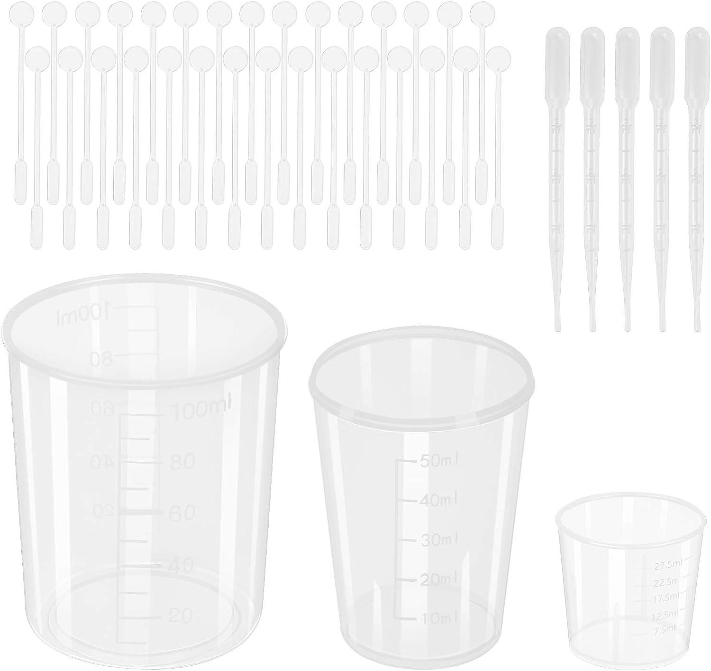 CHALA 65PCS Vasos Graduados 30pcs Jarra Medidora de Plástico Vaso de Mezcla Transparente de 30 ml/50 ml/100 ml con 30pcs Barras Agitadoras 5pcs Gotero para Alimentos,Laboratorio