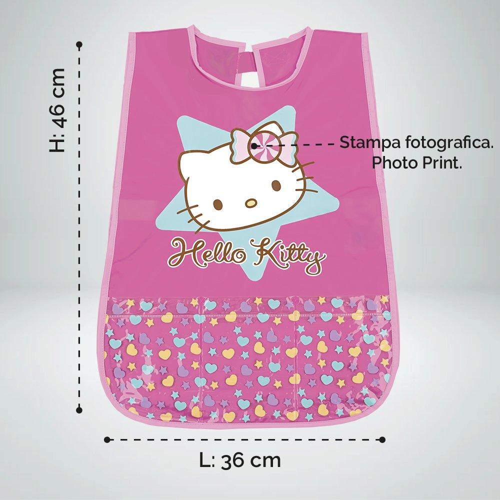 PERLETTI Delantal Infantil de niña Hello Kitty - Bata Escolar Impermeable Bolsillo Delantero - Ideal para Mantener la Ropa Limpia y Seca - 3-5 años - Rosa: ...