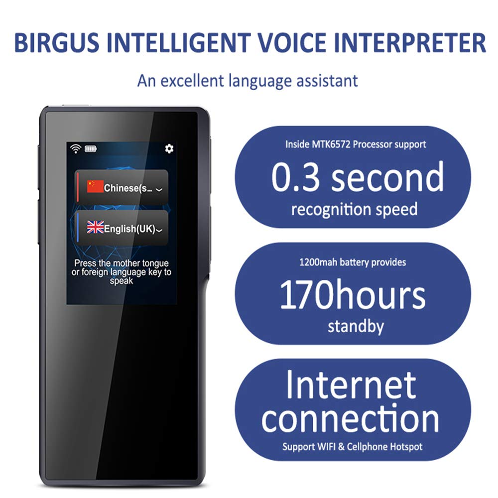 Birgus Smart Voice Translator Device,70 Languages Instant Two Way Translation with 2.4 Inch Touch Screen Portable for Travelling Learning Business Shopping Meeting by Birgus (Image #1)