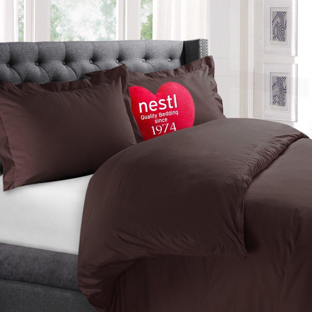 Color Chocolate Brown, 3 Piece Duvet Cover Set Includes 2 Pillow Shams