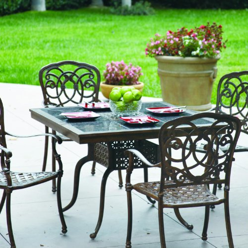 Darlee Florence 5 Piece Cast Aluminum Patio Dining Set With Granite Top Table - Mocha / Brown Granite Tile -