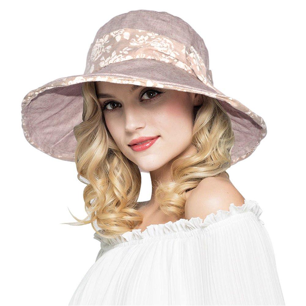 AOMUU Womens Summer Sun Hat - UPF 50+ Wide Brim Floppy Foldable Packable Beach Hat w/Chin Cord