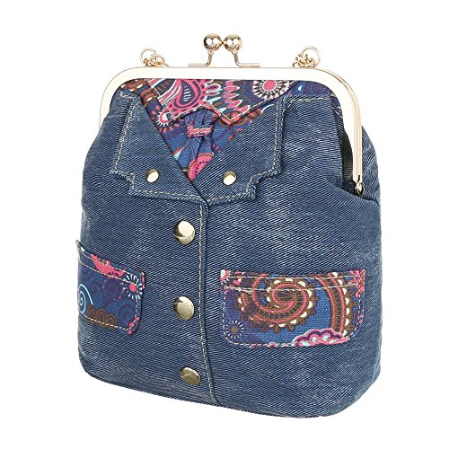 iTal-dEsiGn Damentasche Sehr Kleine Schultertasche Tragetasche Textil TA-E811 Blau
