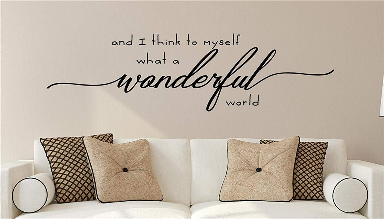 What a Wonderful World Decor What a Wonderful World Sign What a Wonderful World Wall Decals What a Wonderful World Wall Stickers for Living Room