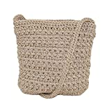 CTM Women's Crochet Crossbody Handbag, Natural