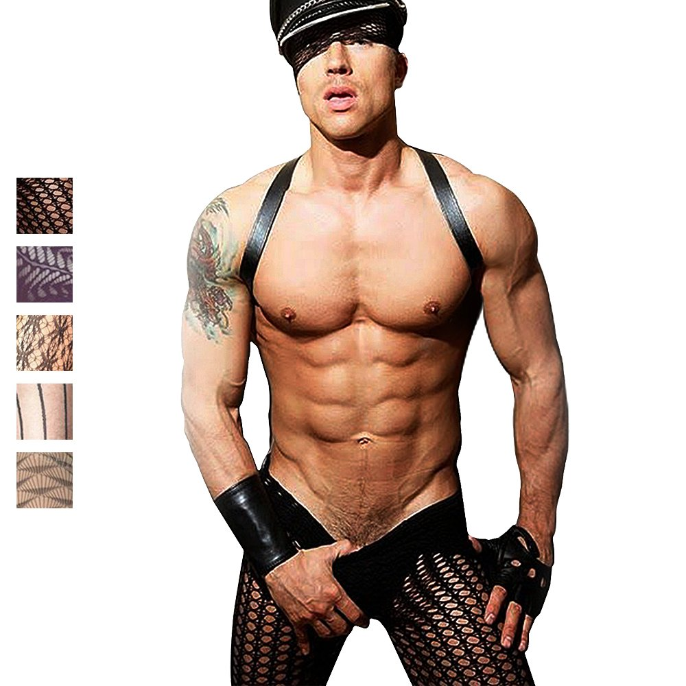 Chris&Je Mens French Style Fishnet Lace Stocking Tights Black-0403-1