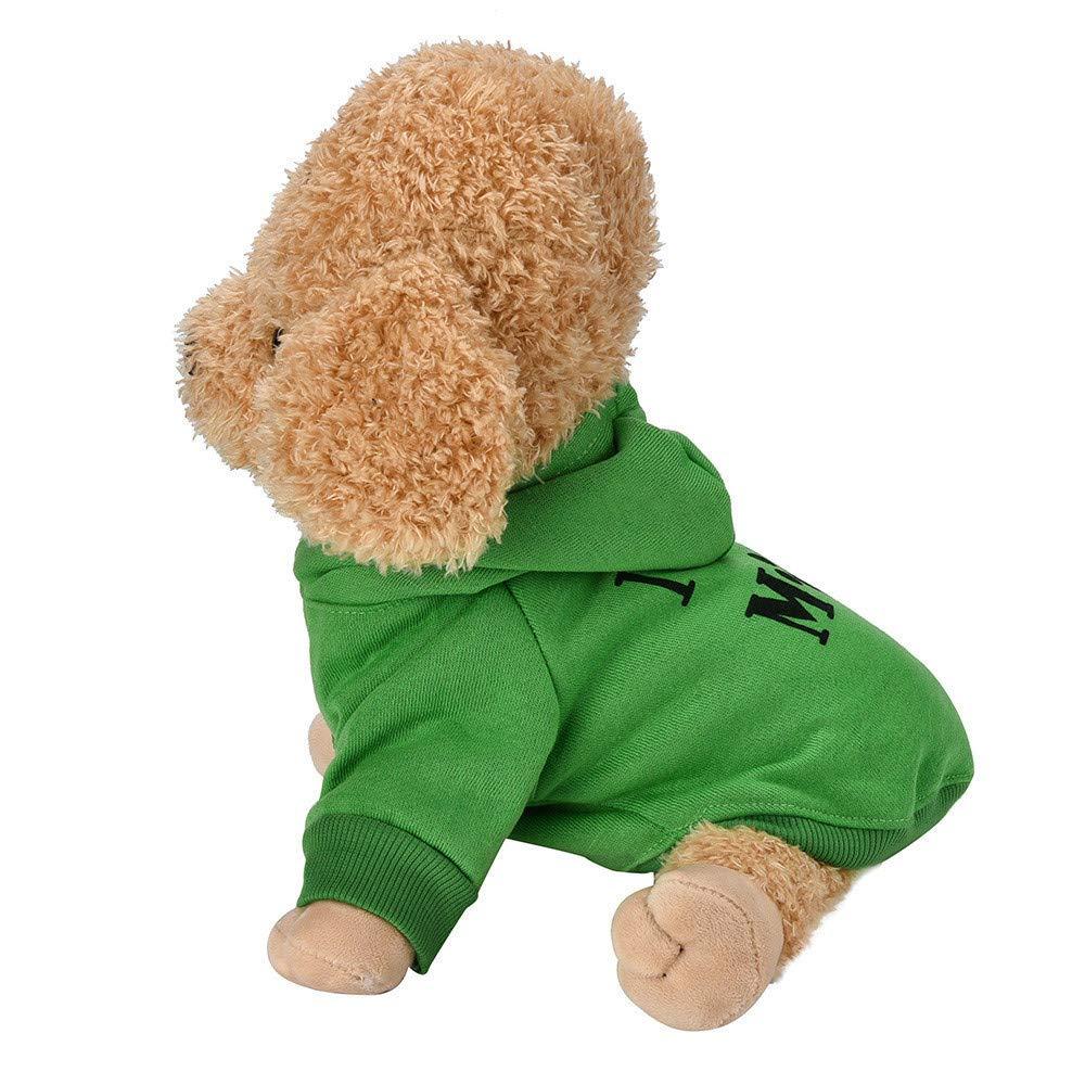 AIORNIY La Mode Petit Chien Coton M/éLang/é Chiot T-Shirt Couleur Unie Lettre Impression Bonnet De Velours Costume Teddy Mignon Funny Confortable T-Shirt