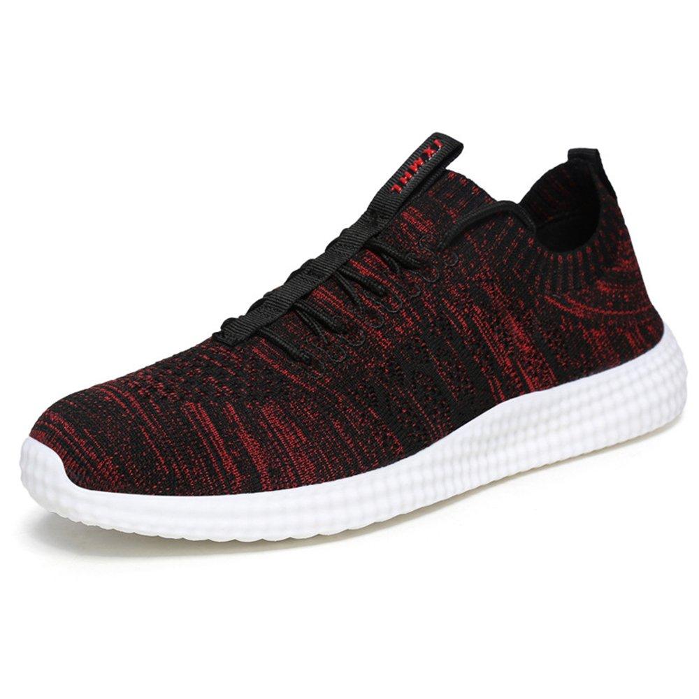 MUOU Schuhe Herren Sneaker Atmungsaktive Freizeitschuhe Lace-Up Mauml;nner Turnschuhe Mesh Wohnungen Laufschuhe  44 EU|Rot