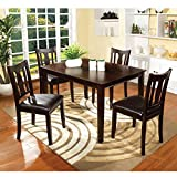 Contemporary Style Padded Leatherette Seats 5 PC Dining Set Espresso
