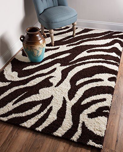 Well Woven Madison Shag Safari Zebra Brown Animal Print Area Rug 6'7'' X 9'10''
