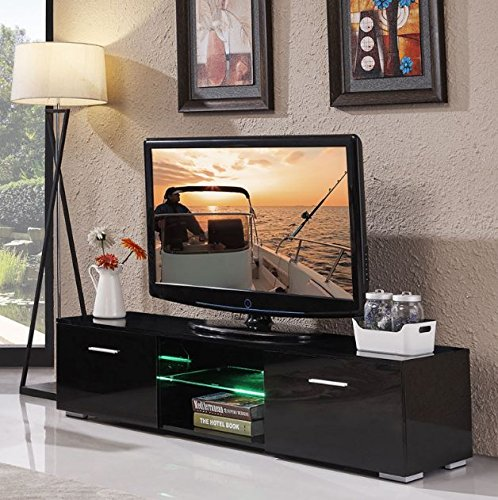 TV Stand Gloss Black High Furniture with LED Shelves Unit Cabinet 2 Drawers Console + eBook - 63' Console
