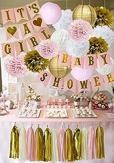 It S A Girl Baby Shower Decoración Rosa Crema Y Dorado