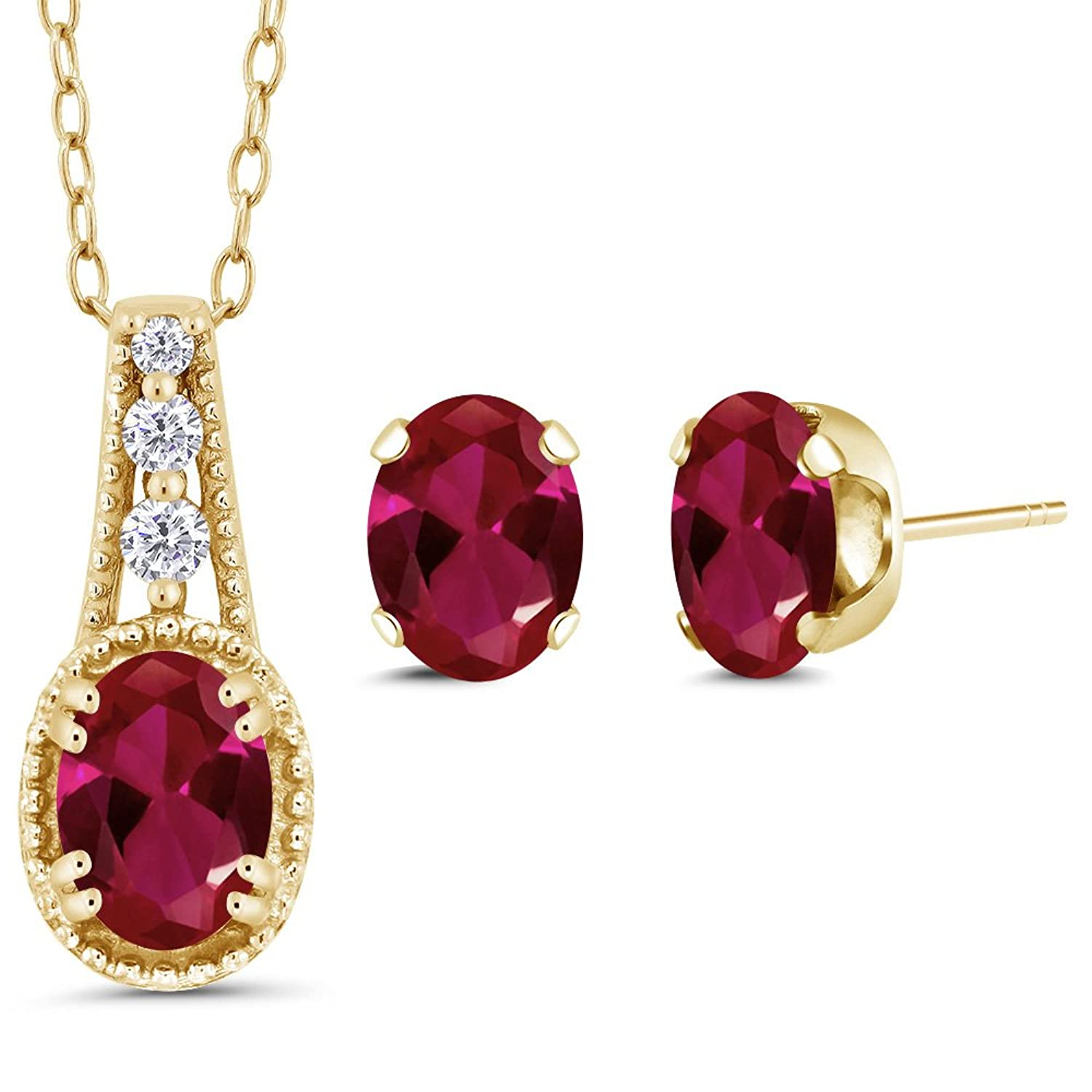 1.58 Ct Oval Red Created Ruby 14K Yellow Gold Pendant Earrings Set